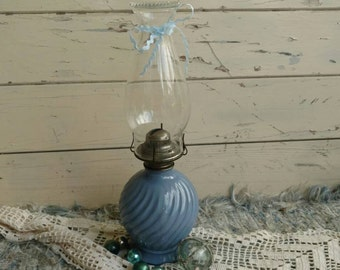 Antique Swirled Blue Glass Oil Lamp With Matching Fluted Shade - Vintage Bedside Light, Home Decor, Whimsical Lights, Vintage Bedside Lights