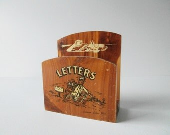 Wood Letter Holder WI Souvenir, 1950's Rustic Cabin Decor, Mid Century Office, Desk Top Mail Holder, Mailman on Bicycle, Cedarcraft