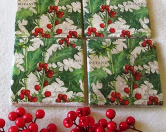 Holly Ceramic Coasters, Christmas Coasters, Holly and Berry Coasters, Shower Gift, Wedding Gift