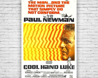 "Cool hand Luke, Paul Newman, 1967 American prison drama film, Movie Print Poster - 12""x18"""