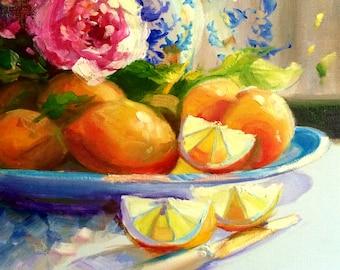 BLOMMETJIE BLOU Art Print of Original Oil Painting, blue and pink floral painting