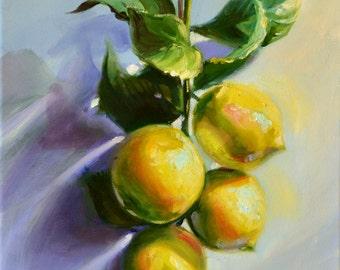 LEMONS ON A STRING, art print of still life painting, original, kitchen art, yellow and purple