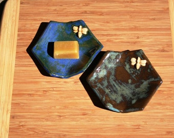 1950s Bee Hexagonal Dish with glazes that match beeswax. Use for candle, ring, spoon rest, sushi