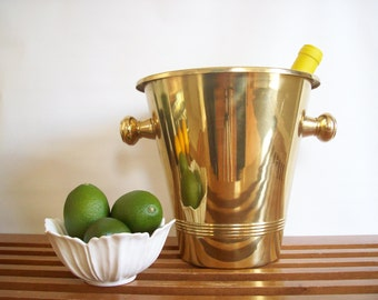 Vintage Brass Champagne Bucket, Two Handled, Ice Bucket, Champagne Cooler, Wine Cooler, Hollywood Regency Barware