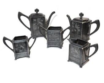 RESERVED FOR L Steampunk Teapot Set Vintage Formal Tea Service Silver Creamer Tea Party Sugar Foodi Gourmet Victorian Gift Swallow Bird