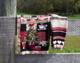 Ugly Christmas Sweater Tacky Office Party Contest Vintage Tiara Cardigan Womens Size Large in Black and Beige Coffee or Tea Lovers Sweater