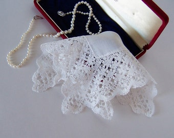 Bridal Handkerchief Vintage Handmade Lace Antique Hanky Victorian Style Wedding Keepsake Something Old Gift for Happy Tears