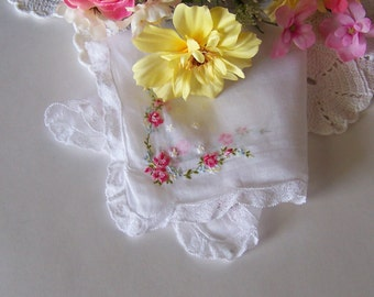 Bride's Wedding Hanky Lace Edge with Pink Roses and a Touch of Blue Victorian Style Antique Handkerchief Keepsake