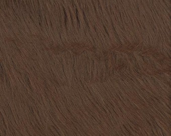 Brown Shaggy Luxury Faux Fur Fabric by the yard