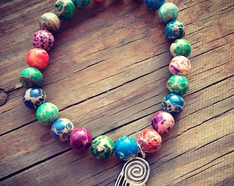 Multicolored Sea Sediment Jasper Boho Stretch Stacking Bracelet