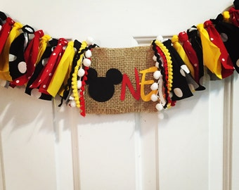 Mickey Mouse Inspired High Chair Bunting Fabric High Chair Banner