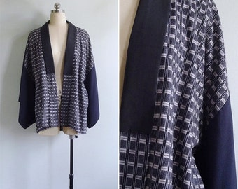 20% CNY SALE - Vintage 50's Steel Grey Geometric Wool & Silk Kimono Haori Robe