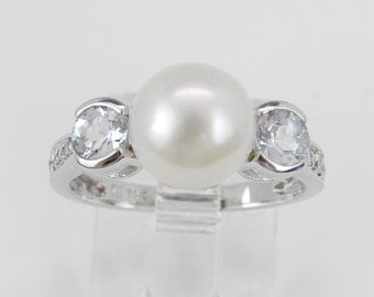 Pearl Aquamarine Diamond Engagement Ring Promise Ring 14K White Gold Size 5.75