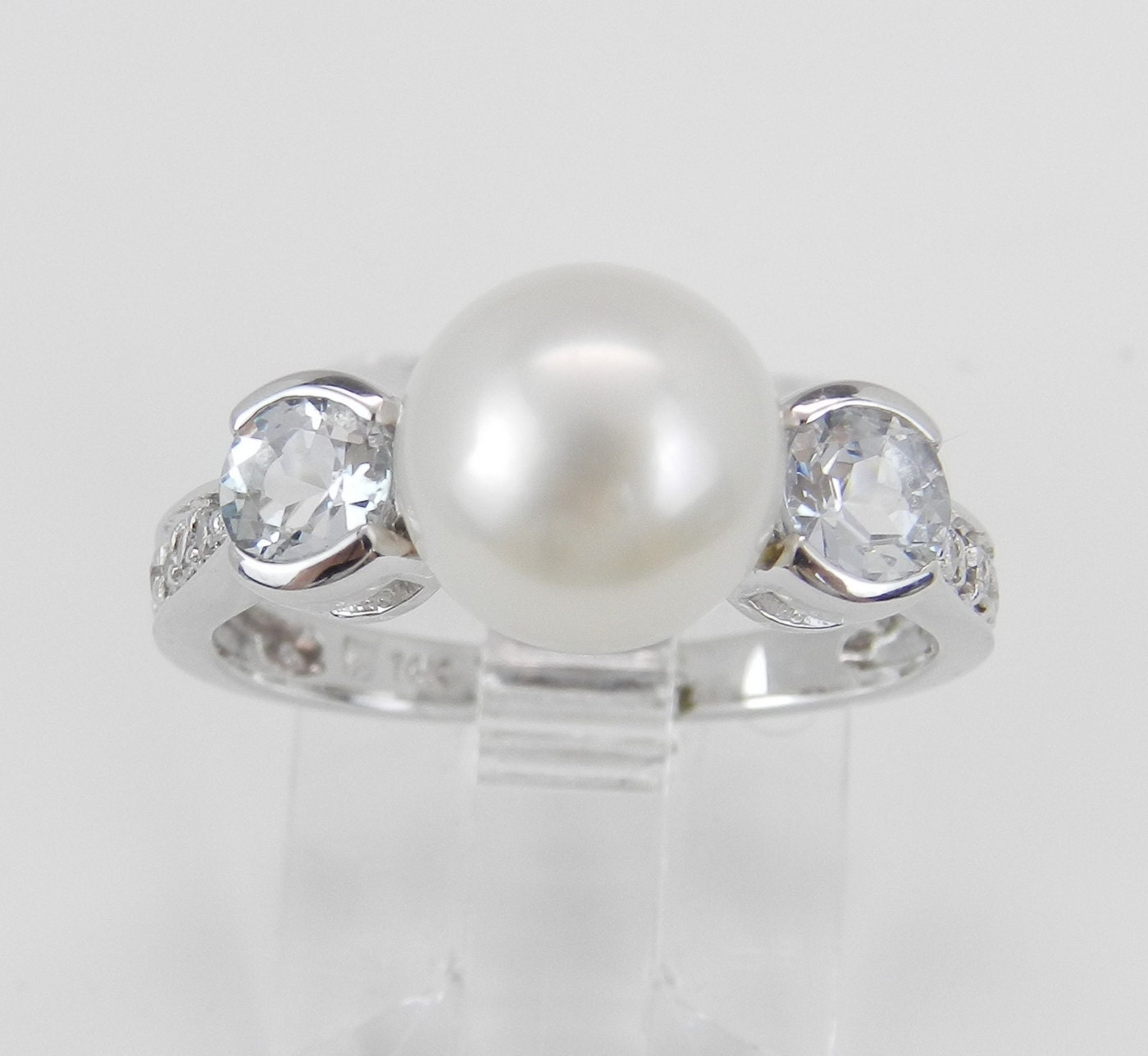 pearl aquamarine engagement ring promise ring 14k