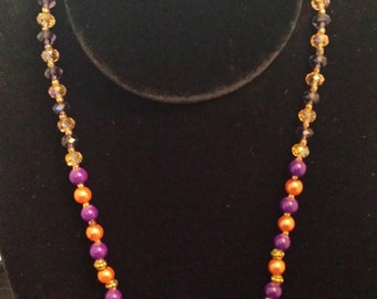 Multi-Colored Beads & Crystal Necklace