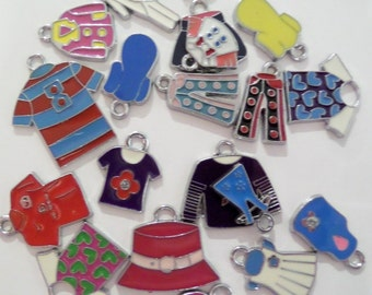 Bulk 20CT Silver Toned Variety Package of Enamel Charms, Y31