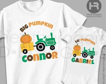 Pumpkin & Tractor Shirts or Bodysuit - Personalized Fall Shirt - 2 Personalized Pumpkin Shirt or Bodysuit - Pumpkin Patch Shirts