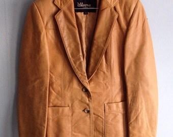 Vintage Leather Jacket Camel Western Jacket