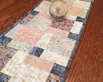 Quilted Table Runner  - Batik Table Runner - Handmade Table Runner