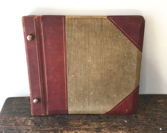 Antique Richmond and Backus Co Leather and Corduroy Ledger