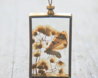 SALE Vintage Moth Collage Glass Necklace Charm with Gold Frame