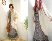 Vintage CAPE Ivory Rough woven linen Boho cape Kety Psara made in Greece/ Stephanie's favorites