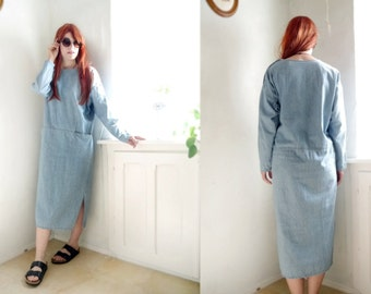 Vintage Jeans Dress Maxi dress Relaxed baggy dress 80s 90s fashion long sleeves