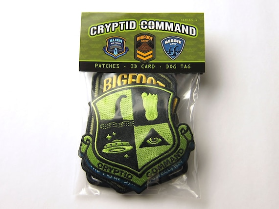 Cryptid Command Officer's Kit (Bigfoot, Nessie, UFO/Aliens Patches, Dog Tag & I.D. Card)