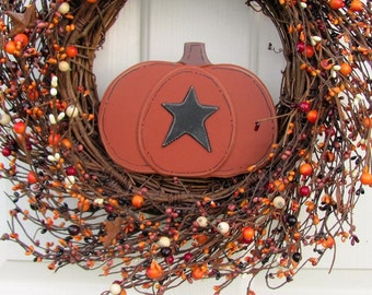 WREATH SALE - Fall Wreath - Pumpkin Berry & Rust Star Wreath - Primitive Star Wreath - Fall Door Decor - Seasonal Wreath - Front Door Wreath
