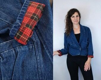 1980s 1990s Vintage Blue Jean Blazer Coat w/ Red Plaid Tartan Flannel Lining @ Cuffs / 80s 90s Autumn Fall Lightweight Jean Jacket / Small S