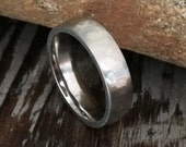 Textured / Hammered Surgical Stainless Steel Ring - 5mm Silver Wedding Band - Men's or Women's Unisex Size 6