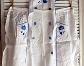 White Bib Apron with Blue Appliqued Flowers