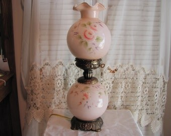 Fenton Gone With the Wind Rose Lamp Hand Painted / Fenton Pink GWTW Lamp with Roses
