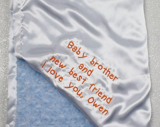 Custom Minky Blanket, Blessing Blanket, Baptism blanket, baby gift, blanket with name, Embroidered Blanket, gift from child, teacher gift