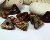 Greek Mykonos, Ceramic Triangle Spacer Beads, Autumn Rust.