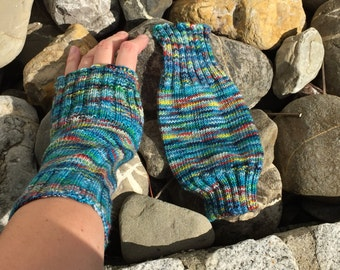 "Large Handknit Fingerless Mitts ""A Tardis in the Park"""