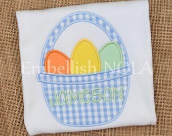Easter Basket Applique Shirt or Bodysuit Easter Shirt Easter Outfit