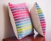 Rainbow Stripe Fabric - 14 x 14 - Rainbow Stripe - Pillow with Insert