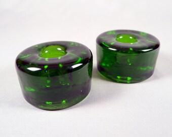 Blenko Round Art Glass Candle Holder, No. 990A, Green Blenko Round Art Glass Candle Holder, No. 990A, Green