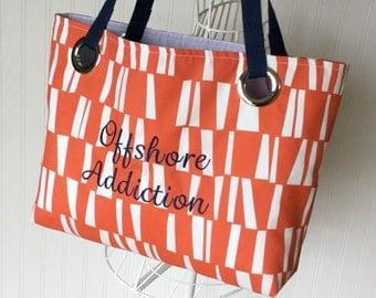 Beach Bag Monogram GIFT FOR HER Mod Orange Tote Work Out Bag Waterproof Work Tote Overnight Bag Orange Graphic Tote Ready To Ship