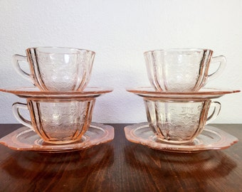 Madrid Indiana Glass Co Recollection - Set of 4 Tea Cups and Saucers