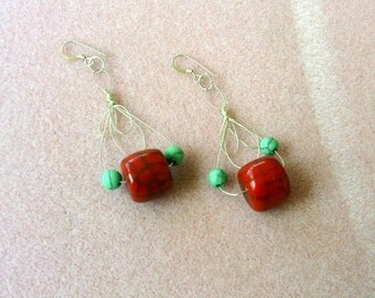 Vintage  Faux Coral, Wire, and Turquoise Earrings - No. 1696