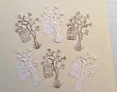 """Handmade, 3 White and 3 Wood Like Trees with Bird Cage with Bird inside  4"""", Die Cuts, Trees"""