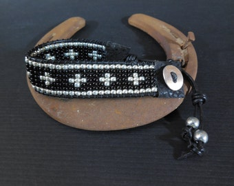 black leather and silver cross loom bracelet, cross jewelry, gypsy cowgirl, country girl bracelet, cowgirl style