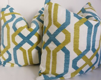 Pair Pillow Covers - 2 Pillow covers- Turquoise pillows- mustard turquoise pillows- Cream turquoise pillow - Set Pillows- Set Pillow Covers