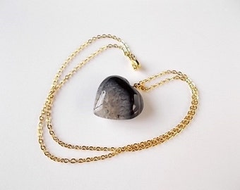 Black Agate Heart Necklace, Mineral Jewelry, Gift for Her, Natural Stone Necklace, Gold Boho Jewelry