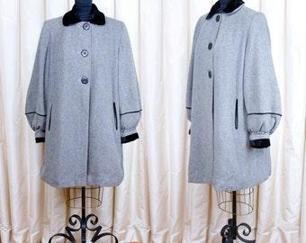 1940s Coat // Bishop Sleeve Striped Wool Swing Coat