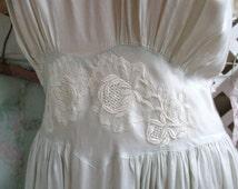 Vintage Silk Chevette Blue Bias Nightgown Applied Lace So Pretty