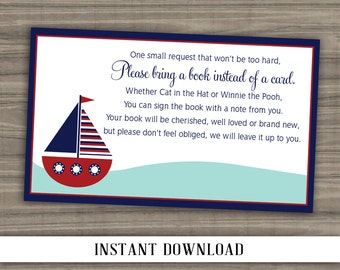 INSTANT DOWNLOAD - Nautical Bring a Book Insert - Print Your Own - Digital File