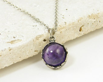 Silver Amethyst Pendant Necklace, Small Amethyst Necklace February Birthstone Birthday Gift for Her Semiprecious Gemstone Jewelry |PJ1-16